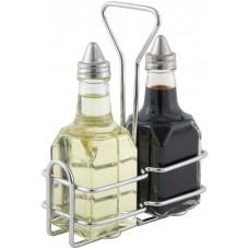 Recipiente Vidrio Aceite o Vinagre Soporte Con 2 Botellas 6oz